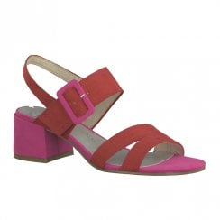 Marco Tozzi Womens Block Heeled Sandals - Red Pink