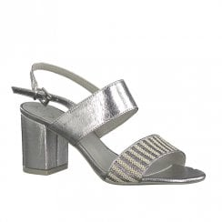 Marco Tozzi Womens Block Heeled Sandals - Silver