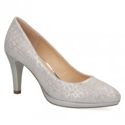 Caprice Lt Grey Premium Leather Court Shoe
