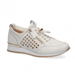 Caprice Leather Womens Comfort Sneakers Shoes - White