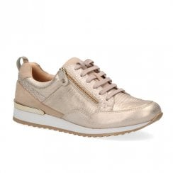 Caprice Leather Casual Comfort Lace Up Sneakers Shoes - Gold