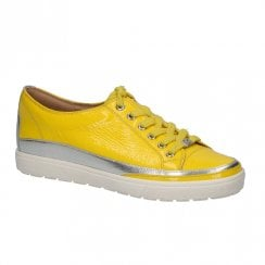 Caprice Leather Womens Sneakers Shoes - Yellow