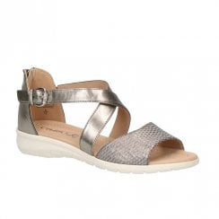 Caprice Leather Womens Flat Sandals - Bronze