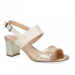 Caprice Leather Womens Heeled Sandals - Off White/Gold