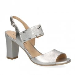 Caprice Premium Leather Womens Heeled Sandals - Silver
