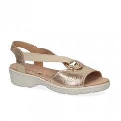 Caprice Leather Womens Comfort Sandals - Gold