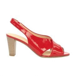 Gabor Zeus Ladies Heeled Slingback Sandals - Red