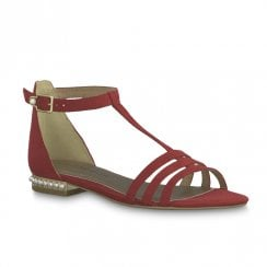 Tamaris Romanesques T-bar Pearl Heeled Leather Sandals - Lipstick Red