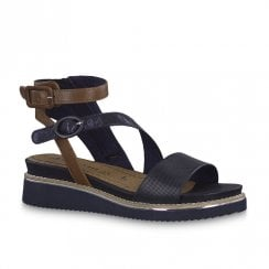 Tamaris Romanesques Low Wedge Heeled Leather Sandals - Navy/Brown