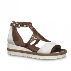 Tamaris Romanesques Low Wedge Heel T-bar Leather Sandals - White/Brown