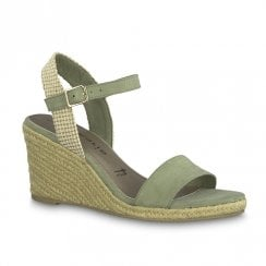 Tamaris Livia Womens Nubuc Wedge Heeled Sandals - Pistacchio Green