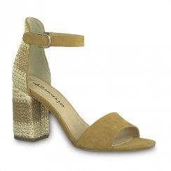 Tamaris Womens Ankle Strap High Heel Sandals - Tan/Gold