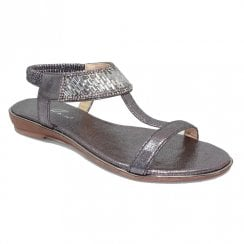 Lunar JLH101 Donatella Gemstone Sandals - Pewter