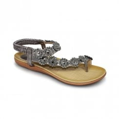 Lunar JLH601 Charlotte Flower Toe-Loop Sandals - Pewter