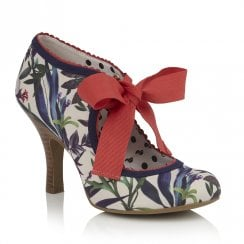 Ruby Shoo Willow Ribbon Ankle Ties Court Shoes - Sage White/Blue