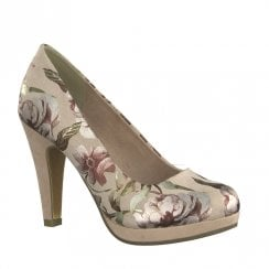 Marco Tozzi Low Platform Court Heels - Rose Flowers