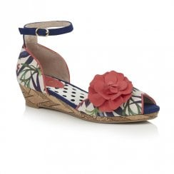 Ruby Shoo Phyllis Low Wedge Heel Ankle Strap Sandals - Sage Navy