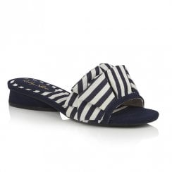 Ruby Shoo Alena Slip On  Flat Sandals - Navy Stripe