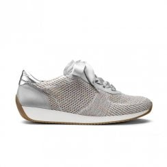 Ara Womens Lissabon Knit Lace Up Trainer Sneaker Shoes - Grey/Multi