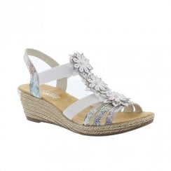 Rieker Womens Wedge Heeled Elasticated Panels Sandals - White Ice