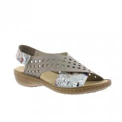 Rieker Womens Leather Wedge Cross Over Straps Sandals - Grey/Floral
