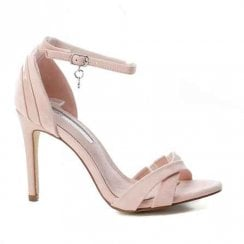 XTI Ankle Buckle Strap High Heeled Sandals - Pink Suede