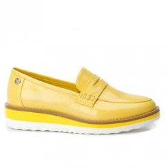 XTI Womens Flat Wedge Platform Slip On Loafer Shoes - Yellow