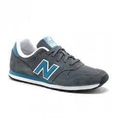 New Balance Mens 373 Lace Up Suede Sneakers - Grey/Teal