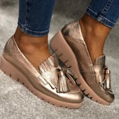 Wonders Gold Wedge Loafer