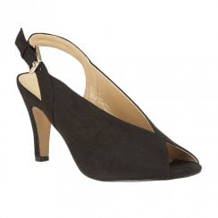 Lotus Akiko Microfibre  Peep Toe  Sling-Back Court Shoes - Black