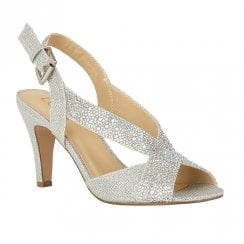 Lotus Anya Diamante Open-Toe Sling-Back Shoes - Silver