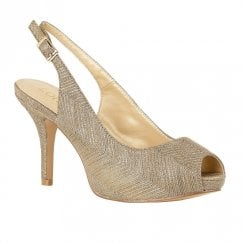 Lotus Adora Sling-back Platform Sandal High Heels - Gold