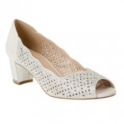 Lotus Attica Diamante Peep Toe Court Shoes - Siver