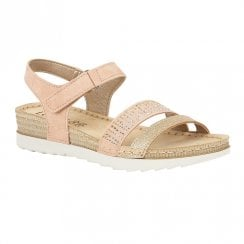 Lotus Taryn Flat Wedge Velcro Sandals - Pink