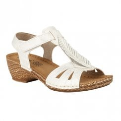 Lotus Melinda Low Wedge Open-Toe Sandals - White