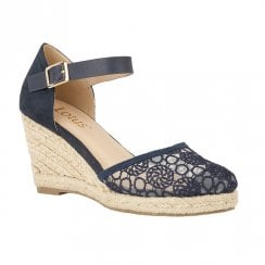 Lotus Eartha High Heel Wedge Ankle Strap Sandals - Navy