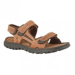 Lotus Mens Douglas Comfort Velcro Leather Sandals - Tan