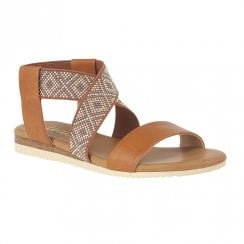 Lotus Zuri Flat Ankle Cross Straps Flat Sandals - Tan
