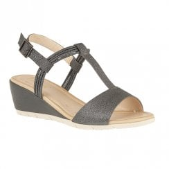 Lotus Kiera Wedge Heeled Open Toe Sandals - Pewter