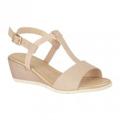 Lotus Kiera Wedge Heeled Open Toe Sandals - Rose Gold