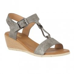 Lotus Ginny Wedge Heeled Open Toe Sandals - Pewter