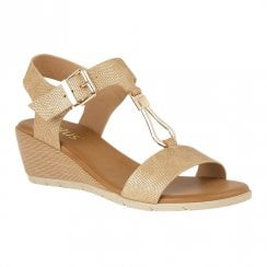 Lotus Ginny Wedge Heeled Open Toe Sandals - Natural/Gold