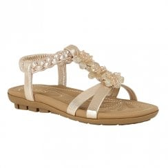 Lotus Womens Margarita Flat Elastic Ankle Strap Sandals - Gold