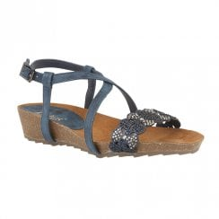 Lotus Womens Sienna Low Wedge Sandals - Navy Glitz
