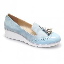 Lunar Karina Wedged Slip On Pump Shoes - Blue