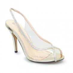 Lunar Occasion Romily Perspex Peep Toe Heels - Gold