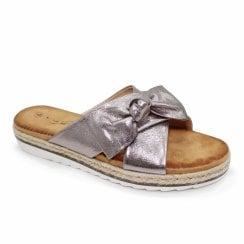 Lunar Rico Slip On Double Strap Bow Flat Sandals - Pewter