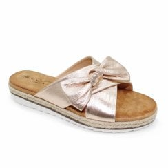 Lunar Rico Slip On Double Strap Bow Flat Sandals - Rose Gold