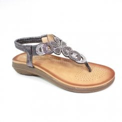 Lunar Edwina Gemstone Toe Post Flat Sandals - Pewter Glitz