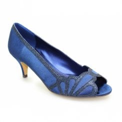 Lunar Dalia Peeptoe Kitten Heel Court Shoes - Navy